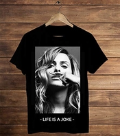 T-shirt Noir Pour Homme Clara Morgane Eleven Paris Life Is A Joke Moustache