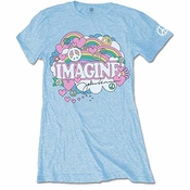 John Lennon Rainbows, Love & Peace T-shirt, Bleu (blue Blue), 36 (taille Fabricant: Small) Femme