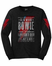 David Bowie T Shirt Hammersmith Odeon Nouveau Officiel Noir Long Sleeve Unisex Size M